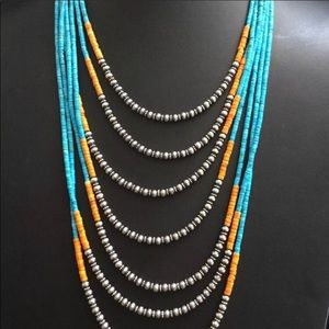 Jewelry - Multi strand Turquoise Spiny  Bead Necklace.